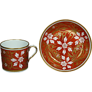 Early 19th Century Coalport English Porcelain Coffee Cup Can And Saucer Circa 1810 Georgian