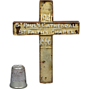 Rare English Miniature Glass Cross Relic of St Paul's Cathedral London 1666 - 1941 WW2 Blitz