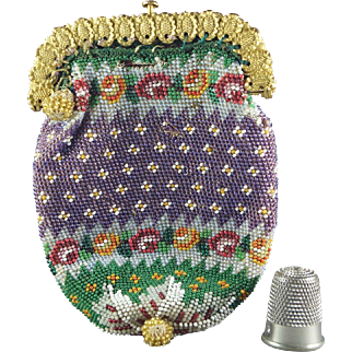 19th Century Regency Purple Beadwork Coin Purse Pinchbeck Frame Beaded Circa 1815
