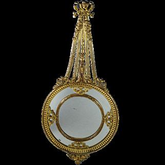 """19th Century Ornate 13"""" French Mirror Bronze Bore Rococo Partitions Putti Circa 1860 Napoleon III"""