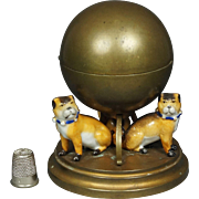 19th Century Pug Dog Inkwell Porcelain Gilt Metal French Circa 1890
