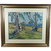 Geoffrey Davis 20th Century Australian Impressionist Oil on Board Blue Gum Trees Landscape 1960s