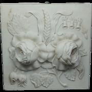 Antique Carved Alabaster Architectural Floral Tile Louis XVI Style Circa 1870