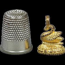 19th Century French Miniature Ann Fob Seal Gilt Metal Black Onyx Swan Charm Pendant Georgian 1830
