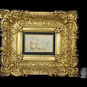 19th Century Miniature Watercolor Painting Seascape Ship Maritime Stunning Original Louis XV Style Gilt Swept Frame Circa 1860