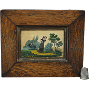 19th Century Georgian Miniature Eglomise Scene Picture French Fixe Sous Verre Eglomise 1830