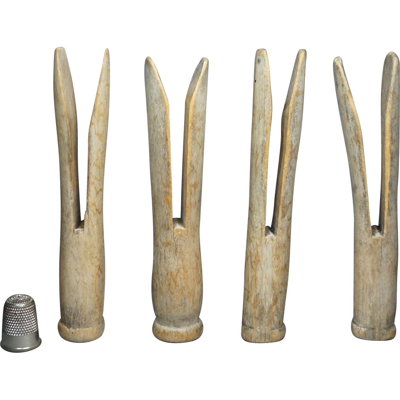 19th Century Oyster White Wooden Clothes Peg x 4 Hand Carved Primitive Folk Art