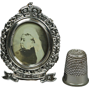 19th Century Miniature English Sterling Silver Queen Victoria Photo Frame Commemorative Fully Hallmarked 1901 Dolls House Size