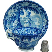 Early 19th Century Childs Miniature Blue and White Transferware Cup And Saucer Circa 1820 Cattle Milkmaid Piping Shepherd Rural Landscape