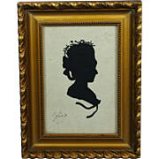 Vintage French Cut Paper Silhouette Of 18th Century Georgian Lady Signed Dated 1926