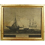 19th Century English Engraving Georgian Sailing War Ship Cutter Naval Maritime Kent England 1810