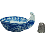 Early 19th Century Blue and White Transferware Butter Boat Pearlware Floral Pattern Circa 1820 AF