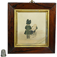 Antique Miniature Watercolor Painting Girl and Her Doll Circa 1880 19th Century