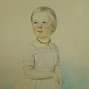 Antique Watercolor Portrait Young Girl Beautiful Circa 1840 European School