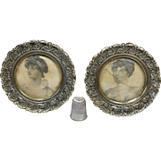 Antique Georgian Pair Of Miniature Circular Brass Picture Frame, Stipple Engravings of George III Daughters Elizabeth Sophia 1827