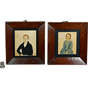 19th Century Miniature Folk Art Watercolor Pair Brother Sister Primitive Circa 1840