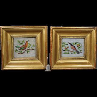Antique Pair Miniature French Sable Beadwork Bird Pictures Georgian Circa 1830