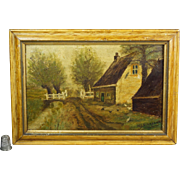 Antique 19th Century Oil Painting Rustic Farm Folk Art Country Farmhouse Circa 1890