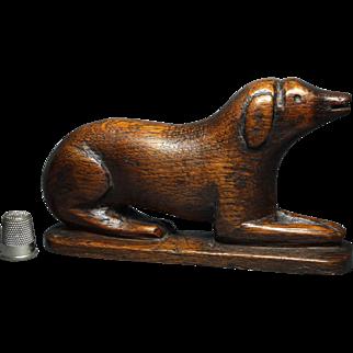 Antique Georgian Carved Wood Dog Calling Card Holder Circa 1830 Treen STUNNING