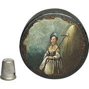 Antique 18th Century Snuff Box Shepherdess Papier Mache Vernis Martin Circa 1780s