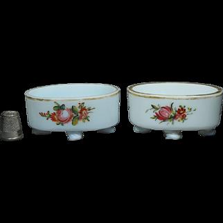 Antique 18th Century Pair Milch Glas Glass Salt Cellar Circa 1800 Georgian Floral Enamel