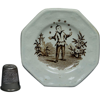 Antique Staffordshire Miniature Toy Doll Plate Juggler Circa 1820 Transferware Georgian
