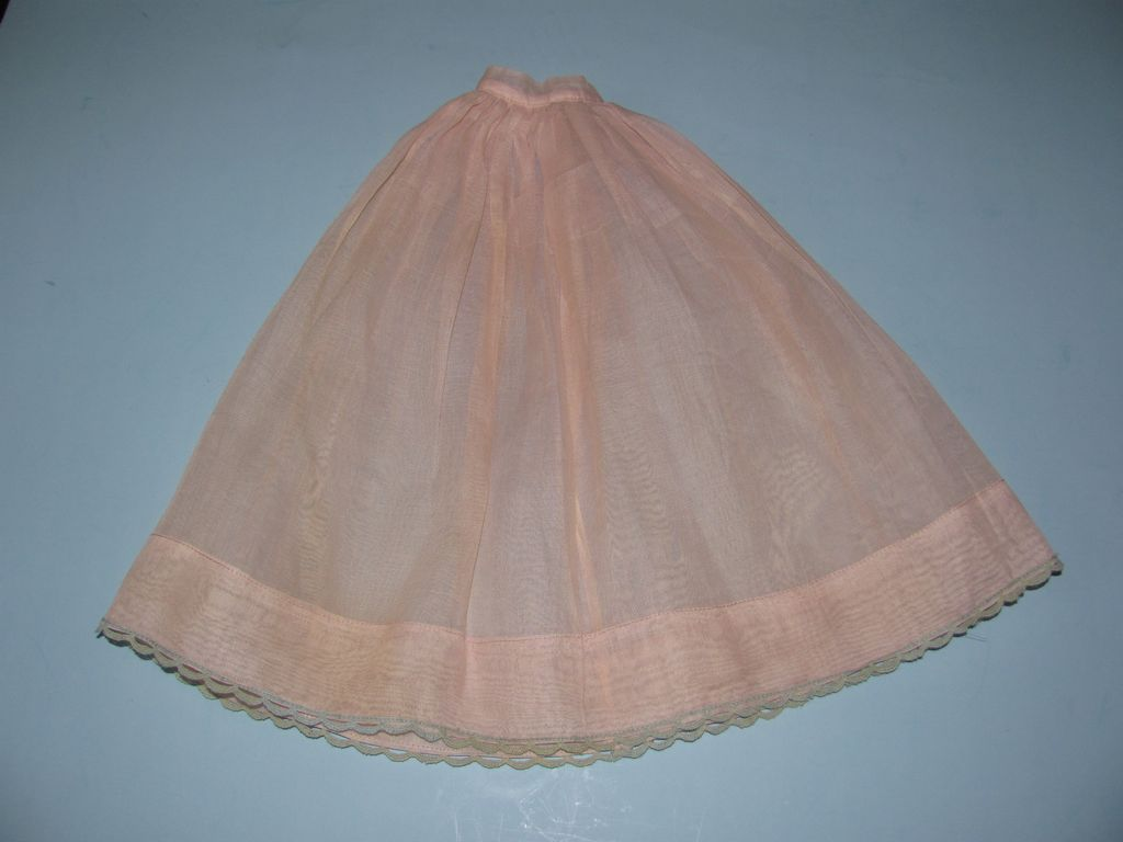Vintage Long Pink Doll Slip - Small Waist - Blue Trim