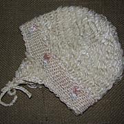 Sweet Vintage Baby/Doll Bonnet - Loopy Design & Pink Rosebuds