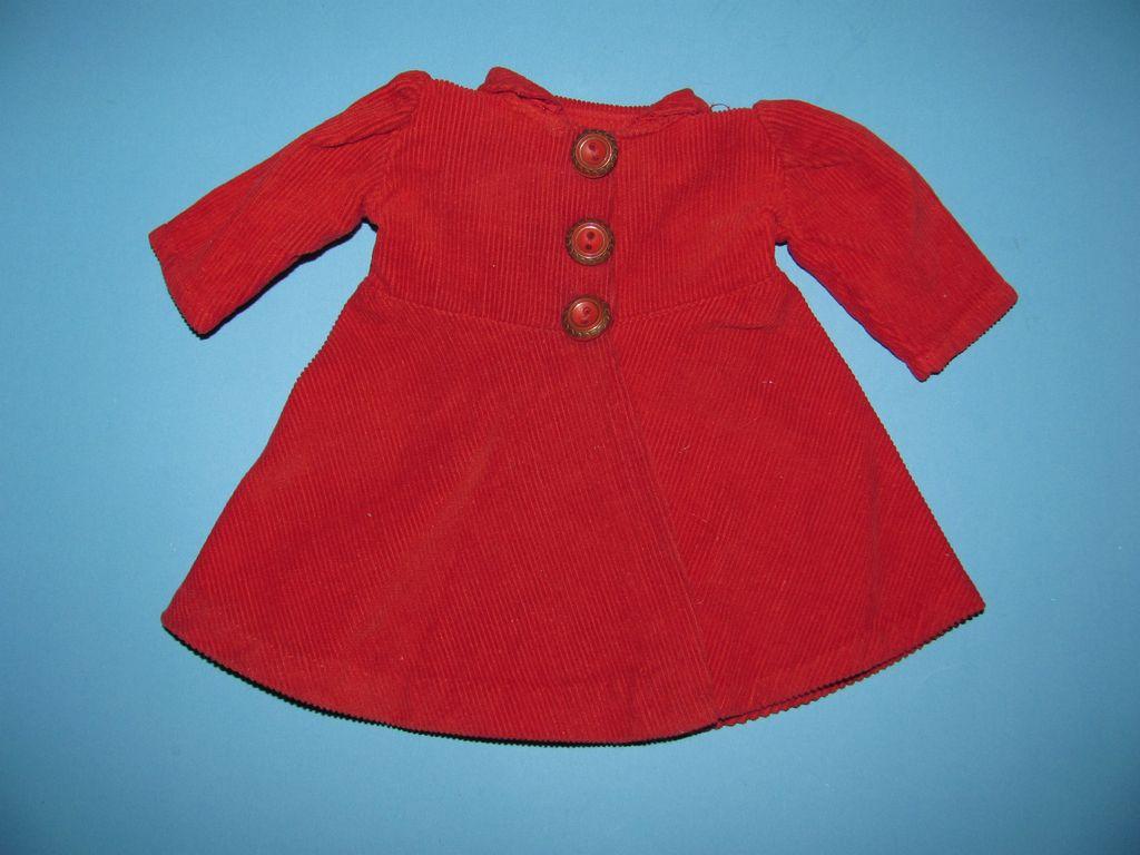 Red Corduroy Doll Dress/Coat