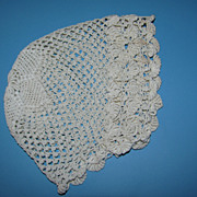 Vintage Crochet Doll Bonnet - Star Pattern Crown