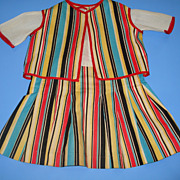 Vintage Striped Doll Dress & Vest - Fits Larger Doll