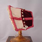 Vintage Burgundy Velvet Doll Bonnet