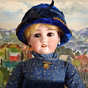 Simon Halbig/Dressel 1349 Bisque Doll - Lovely Old Calico Outfit