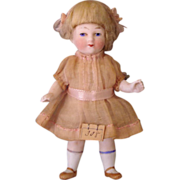German Miniature Bisque Doll - Sweet Pink Outfit