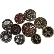 10 Victorian Metal Buttons - Small