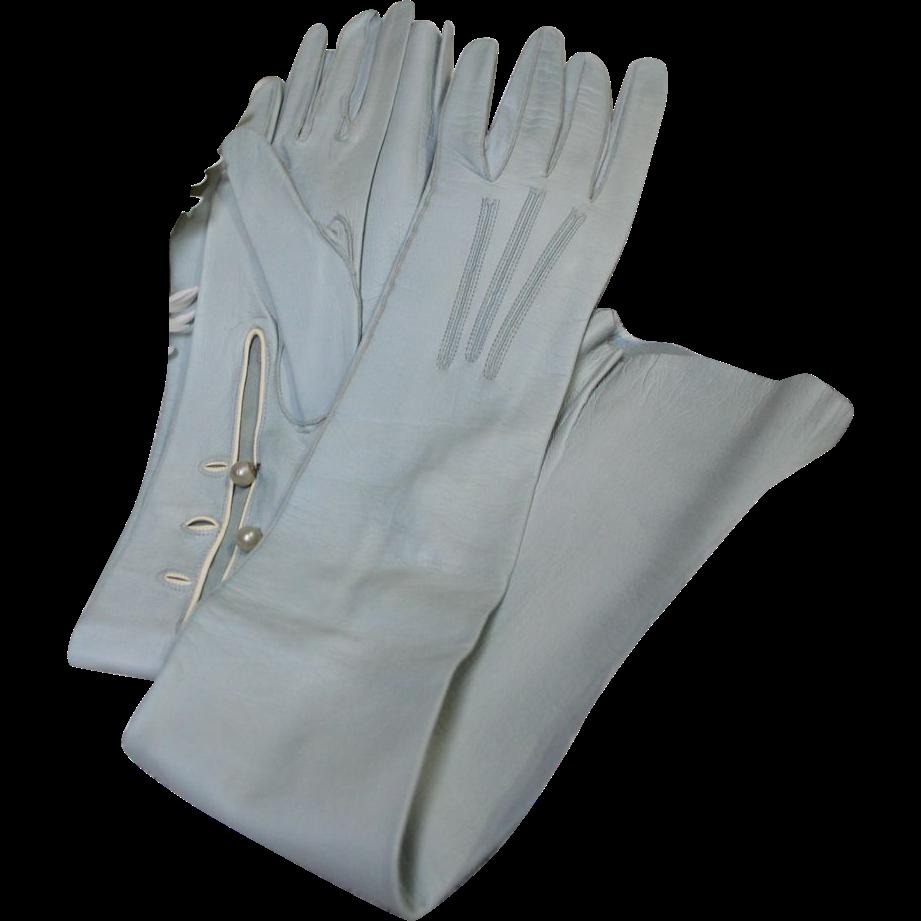 Vintage ladies leather opera gloves - Vintage Light Blue Kid Leather Opera Gloves Fabulous Color Original Store Box