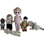 Lot of Miniature Bisque Dolls & Parts - TLC
