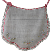 Gorgeous Apron With Flower Embroidery, Lace, And Ribbon Trim