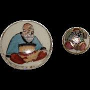 2 Vintage Satsuma Porcelain Buttons