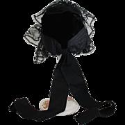 Black Velvet And Lace Doll Bonnet