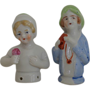 2 Porcelain Half Dolls / Pincushion Dolls