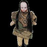 Miniature German Bisque Head Doll With Braids