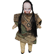 Miniature German Bisque Head Doll With Braids