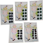 Vintage Children's Buttons On Original Cards - Sweet Graphics
