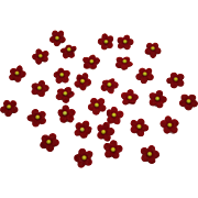 Miniature Red Felt Flowers For Doll Hats