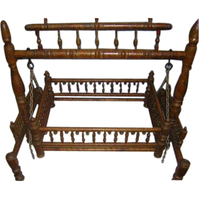 Rajasthani Palace 1800's Child's Cradle Very Rare
