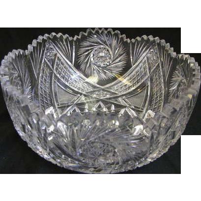 "9"" Pitkin & Brooks American Brilliant Cut Glass Bowl"