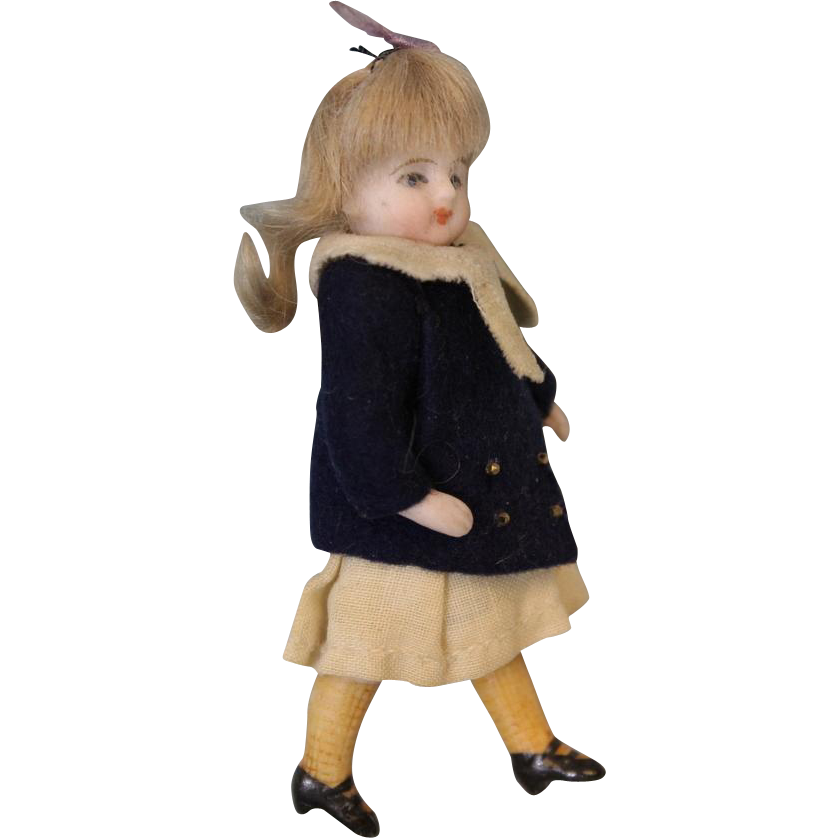 3.5 inch All Bisque Swivel Head German Bisque Doll w. Yellow socks 2 Straps Shoes