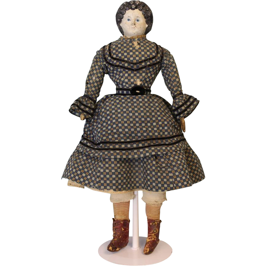 c.1870 Antique Early Greiner Papier Mache Doll from Original Denver Family