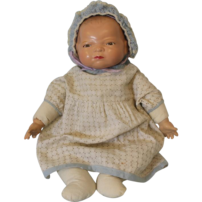 c.1940's RARE 15 inch Composition Bye Lo Baby Doll by Grace Putman All Original